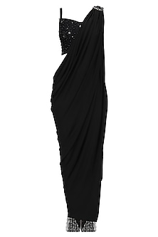 Black All Sparkles Draped Saree and Pants Set