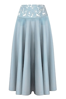 Ice Blue Beads and Sequinned Circle Skirt by Bhaavya Bhatnagar