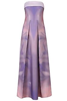 Mauve Sunset Smudge Print Off Shoulder Gown