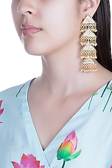 Matte Gold Finish Embroidered Pearl Hanging Layered Earrings by Bauble Bazaar