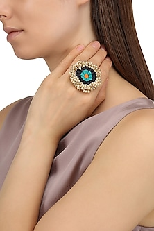 Matte Finish Three Toned Silk Thread Ring by Bauble Bazaar