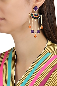Matte Finish Geometric Dangler Earrings