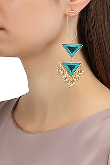 Matte Finish Triangular Two Tier Earrings