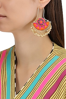 Matte Finish Silk Thread Embroidery Earrings by Bauble Bazaar