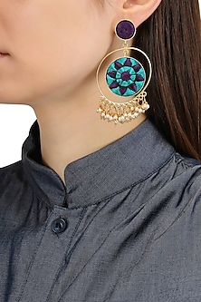 Matte Finish Circular Three Toned Earrings