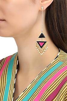 Matte Finish Triangular Two Toned Earrings