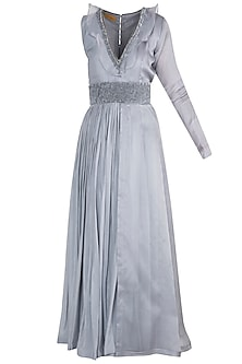 Grey Embroidered Anarkali With Belt by Abha Choudhary