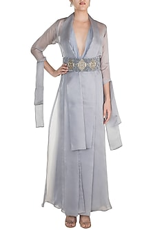 Grey Embroidered Jumpsuit With Jacket & Belt by Abha Choudhary