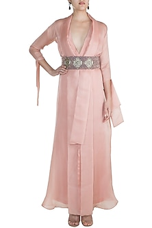 Blush Pink Embroidered Jumpsuit With Jacket & Belt by Abha Choudhary