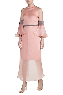 Blush Pink Embroidered Dress With Wrap Skirt by Abha Choudhary