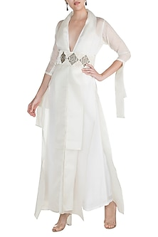 Pearl White Embroidered Jumpsuit With Jacket & Belt by Abha Choudhary