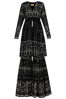 Black Sequin Embellished Sharara Set by Abha Choudhary