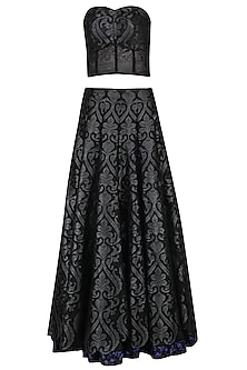 Black Applique Skirt with Corset