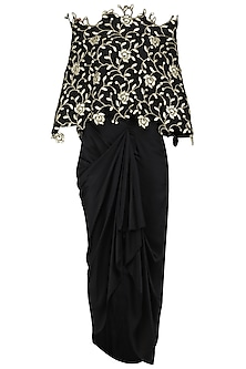 Black Off Shoulder Top with Dhoti Skirt by Abha Choudhary