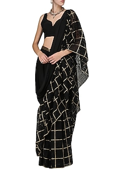 Black Embellished Saree with Blouse by Abha Choudhary