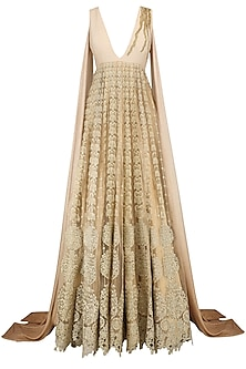 Gold Faux Tailed Ombre Sleeves Anarkali