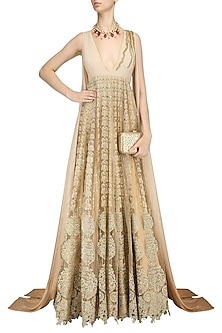 Gold Faux Tailed Ombre Sleeves Anarkali by Abha Choudhary