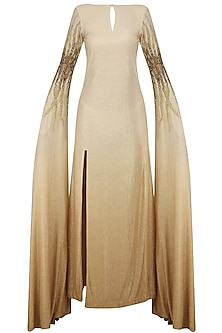 Peach and Beige Embellished Peek A Boo Tailed Sleeves Gown by Abha Choudhary