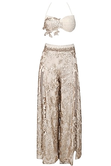 Cream Slit Pants, Bralet and A Cuff Tailed Sleeve Set by Abha Choudhary