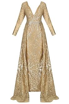 Gold Crown Tail Mermaid Gown by Abha Choudhary