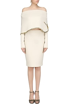 Cream Off-Shoulder Embroidered Cape and Fitted Skirt by Abha Choudhary
