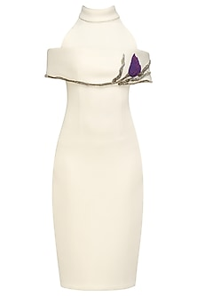 Cream Bodycon Embroidered Dress by Abha Choudhary