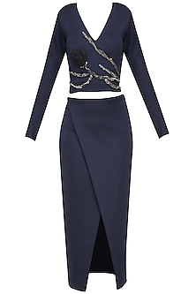 Midnight Blue Embroidered Crop Top and Skirt by Abha Choudhary