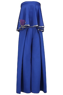 Electric Blue Off Shoulder Embroidered Top and Overlap Pleated Pants