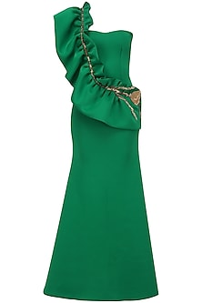 Emerald Green One Shoulder Ruffled Gown