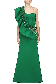 Emerald Green One Shoulder Ruffled Gown by Abha Choudhary