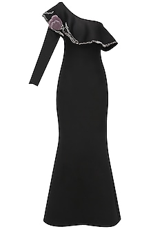 Black One Shoulder Ruffled Gown by Abha Choudhary