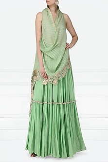 Mint Green Embroidered Drape Top with Lehenga Skirt by Abha Choudhary