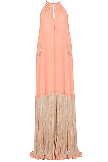 Peach Gota Patti Embroidered Gown