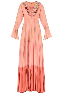 Peach Ruffle Embroidered Tiered Tunic by Abha Choudhary