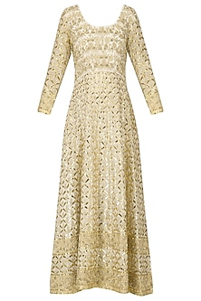 Off White Embroidered Anarkali Gown Set by Bodhitree Jaipur