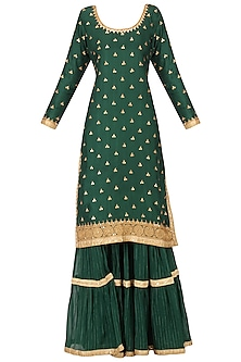 Emerald Green Embroidered Kurta and Gharara Pants Set by Bodhitree Jaipur