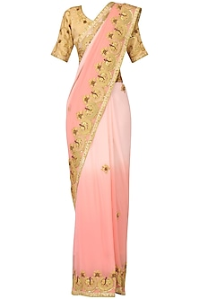 Powder Pink Ombre Marori Work Saree