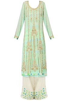 Mint Green Embroidered Layered Kurta Set
