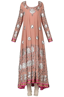 Flamingo Pink Embroidered Anarkali Set by Bodhitree Jaipur