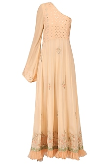 Peach One Shoulder Maxi Dress