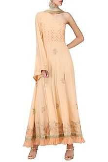 Peach One Shoulder Maxi Dress by Bodhitree Jaipur