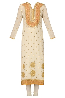 Off White Embroidered Kurta Set