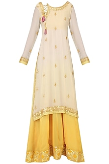 Off White and Yellow Embroidered Layered Kurta Set