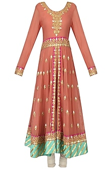 Carrot Pink and Mint Green Anarkali Set by Bodhitree Jaipur