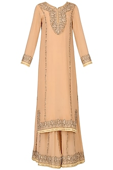 Barley Beige Embroidered Kurta and Sharara Pants Set