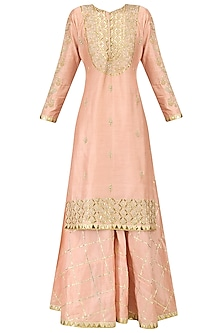 Salmon Pink Embroidered Kurta and Sharara Pants Set by Bodhitree Jaipur