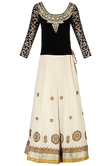 Black and White Embroidered Lehenga Set by Bodhitree Jaipur