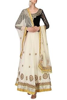Black and White Embroidered Lehenga Set by Bodhitree Jaipur