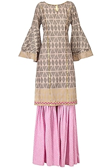 Grey Block Print Embroidered Kurta with Lavender Gharara Pants Set