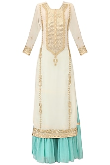 Off White Embroidered Kurta with Turquoise Gharara Pants Set
